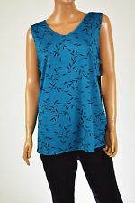 NY Collection Women's V neck Sleeveless Stretch Blue Printed Tunic Blouse Top XL