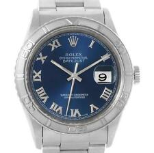 Rolex Turnograph Stainless Steel 18k White Gold Blue Dial Watch 16264