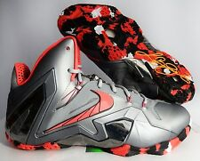 "NIKE LEBRON XI 11 ELITE ""TEAM"" WOLF GREY-LASER CRIMSON-BLACK SZ 10 [642846-001]"