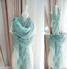 New Fashion Womens Long Big Soft Cotton Voile Winter Scarf Wrap Shawl Stole Blue
