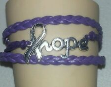 PANCREATIC CANCER RIBBON,HOPE,LEATHER CHARM BRACELET-PURPLE-SILVER-#20