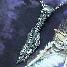 Skullschädel Adlerfeder Amulett 925 Silber Skull Totenkopf Anhänger HARLEY Biker
