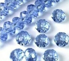 New 100pcs Light Blue Faceted Crystal Gemstone Loose Beads 4x6mm