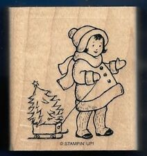 TODDLER GIRL Pine Tree Sled NEW Stampin Up! Greeting Card Kids wood RUBBER STAMP