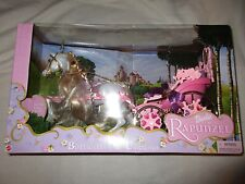 Barbie as Rapunzel Botticelli & Carriage 2002 White Horse Fairytale Princess NIB