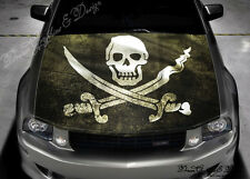 Pirates Flag Full Color Graphics Adhesive Vinyl Sticker Fit any Car Bonnet #197