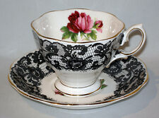 Very Rare Royal Albert SENORITA CUP & SAUCER BLACK LACE & ROSE c1950s MINT