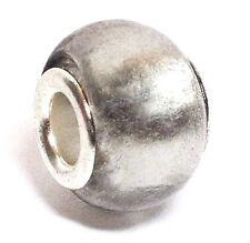 *Gray Metallic Foil*_Murano Glass Bead for Silver European Charm Bracelet_B80