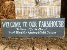 "Large Rustic Wood Sign - ""Welcome To Our Farmhouse . . ."" Primitive Gray"
