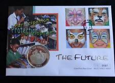 1989 SILVER PROOF CAYMAN ISL'S $5 COIN SAVE THE CHILDREN FIRST DAY COVER PNC