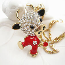 Gold Plated Crystal Flower Red Cute Cow Pendant Necklace Sweater Chain