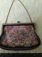 Vintage Black Petit Point Evening Bag Purse With Bakelite Clasp from Austria