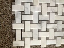 MARBLE Carrera BASKETWEAVE POLISHED BARDIGLIO GREY DOT  TILE MOSAIC carrara
