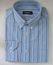 M & S size 16in Mens Long Sleeve Shirt 100% Cotton Collared Blue Stripe RRP£25