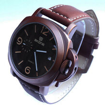 Elegant 44mm Copper Bronze Naval Miltary Diver Quartz Watch Date Leather Strap