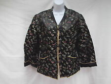 vtg asian brocade silk satin belt lined black floral blazer jacket frogs S MINT