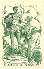 Wanderer Exlibris J. Fernandez Saez TEWS Germanic Hikers C3 Engraving #181 Alps