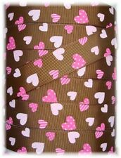 7/8 PINK CHOCOLATE VALENTINE HEARTS GROSGRAIN RIBBON