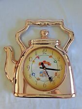 "KITCHEN Wall Clock 11"" Copper Tea Kettle Teapot Fork Knife Hands Plastic"