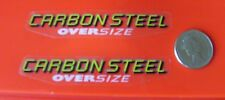 CARBON STEEL OVERSIZE MTB  FRAME DECALS - A Pair - Yellow/White - Self Adhesive