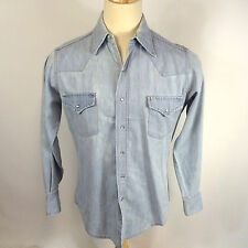 Vintage Worn 60s 70s Sears Blue Denim Chambray Pearl Snap Western Work Shirt M
