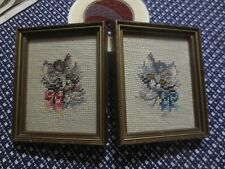 """PAIR Wood Framed GRAY KITTENS WITH BOWS NEEDLEPOINT - 5"""" x 6"""" Each"""