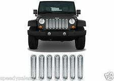 7pc Chrome Grill Inserts For 2007-2016 Jeep Wrangler JK Grille New Free Shipping