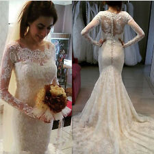 Luxury Wedding Dresses Long Sleeve Court Train Mermaid New Lace Bridal Gowns