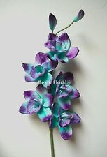 Blue Purple Orchids Centerpieces Real Touch Flowers Silk Wedding Bridal Bouquets
