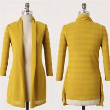 ANTHROPOLOGIE Yellow Bird Shadowsleeve Cardigan Open Front Drape Mustard Size S