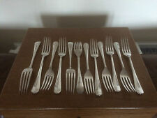 SET OF 12 SILVER PLATED DESSERT FORKS (RAT TAIL PATTERN) Walker & Hall  SPDF822