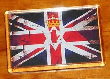 Retro Union jack flag with Red Hand of Ulster loyalist fridge magnet