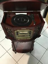New Vintage Red Oak Style 4 In 1 Record-Phonograph/CD/Cassette/AmFm Radio Player