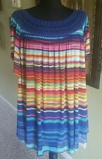 New Directions Women Plus Striped Crochet Blue Pink Yellow Shirt Top Blouse 3X
