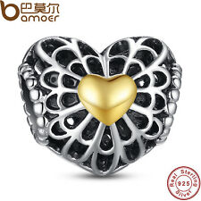 Black Friday Ancient Authentic S925 Sterling Silver Charms Gold Hearts Fit Women