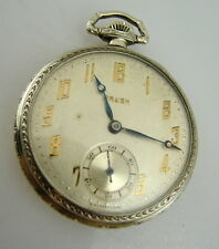 GRUEN 15 JEWEL Art Deco Swiss Model Cal. 716 Open Face Pocket Watch VTG/OLD