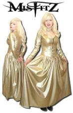 Misfitz  gold leather look padlock restraint ballgown size 22,gothic,TV,