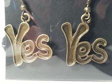 "Bronze Tone ""Yes"" Drop Style Hook Earrings - Fashion Jewelry"