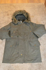 Dolce & Gabbana Green Khaki Down Quilted Faux Fur Parka Jacket Coat Mens Small
