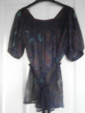 Ladies top Size 8 paisley design in blue and purple