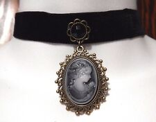 BLACK VELVET LADY CAMEO CHOKER Victorian Gothic Steampunk necklace EGL Z5