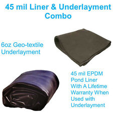20' x 30' 45mil EPDM Koi Pond Liner & Underlayment Combo With Lifetime Warranty
