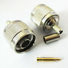 N type male plug RF coaxial connector for RG58 LMR195 cable NEW straight type