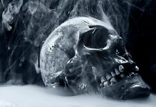 Art Poster Smoking Skull Goth Theme   Print