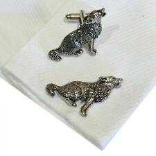 Pewter Howling Wolf CUFFLINKS Lover Halloween Party Christmas BIRTHDAY PRESENT