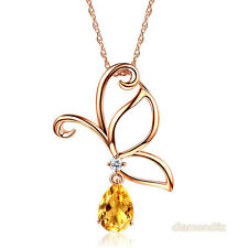 14K Rose Gold Critine Butterfly Pendant Necklace