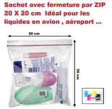 Lot 5 Pochettes Sachet fermeture ZIP 20 x 20 cm pour liquides en avion, aéroport