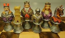 MEDIEVAL TIMES CRUSADES BUSTS PAINTED CHESS MEN SET - NO BOARD