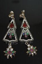 TURKISH OTTOMAN VICTORIAN STYLE 925 SILVER 1 CARAT RUBY CZ DANGLING EAR/RINGS