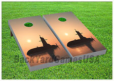 CORNHOLE BEANBAG TOSS GAME  USA Navy Submarine w Bags Game Boards Set 1062